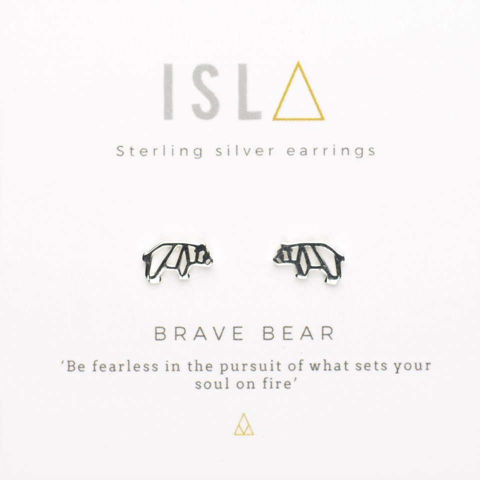Brave Bear Sterling Silver Earrings