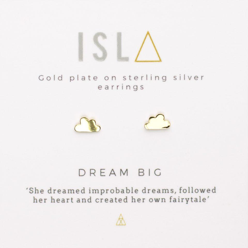 Dream Big Gold Plate on Sterling Silver Earrings