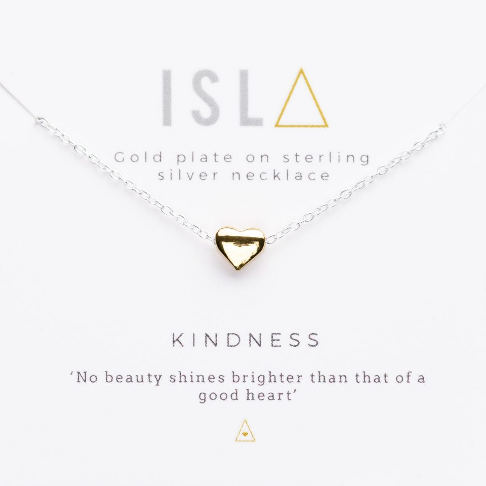 Kindness Gold Plate on Sterling Silver Necklace