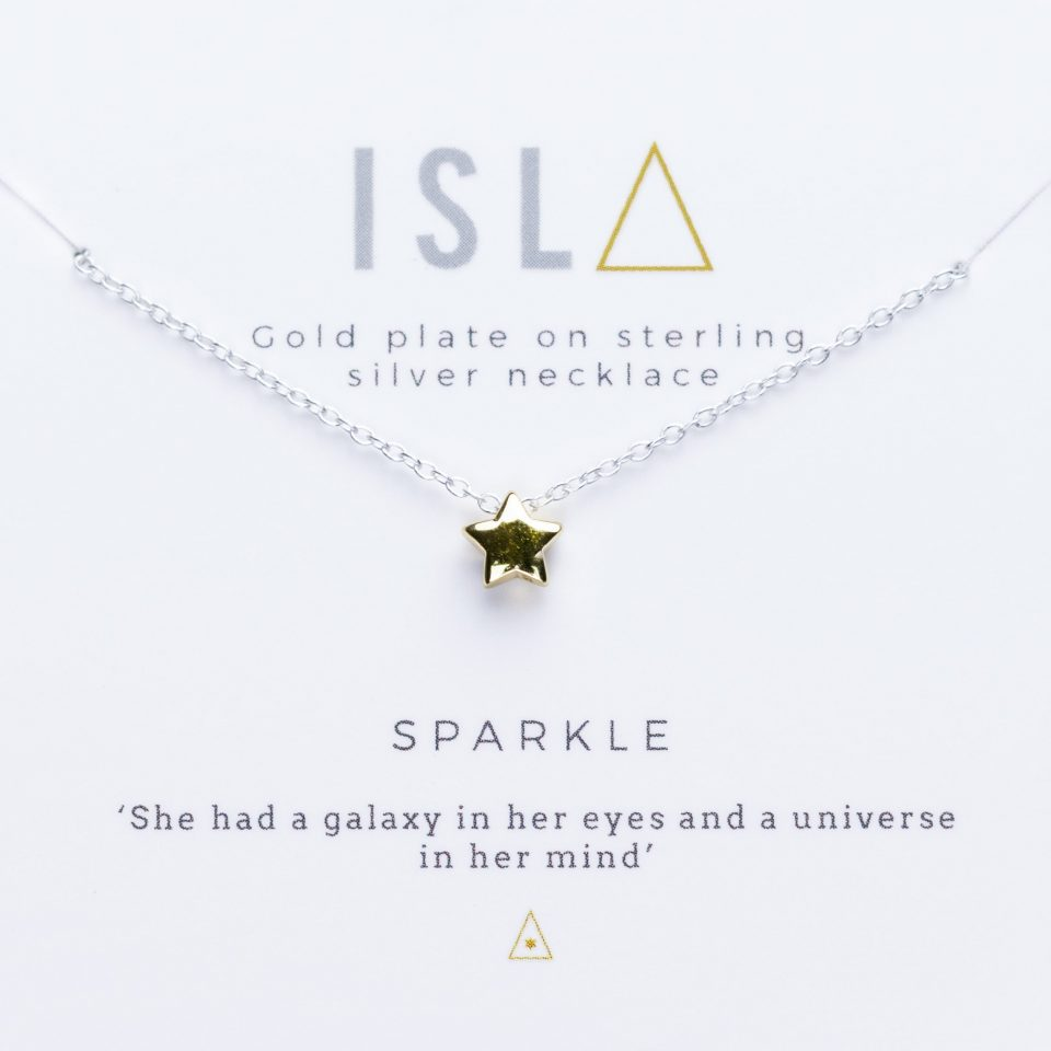 Sparkle Gold Plate on Sterling Silver Necklace