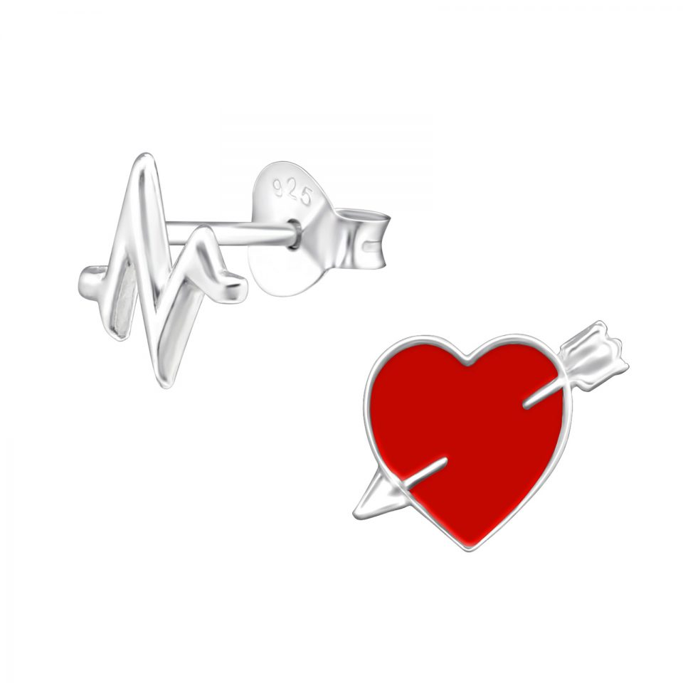 Beating Heart Asymmetrical sterling silver earrings