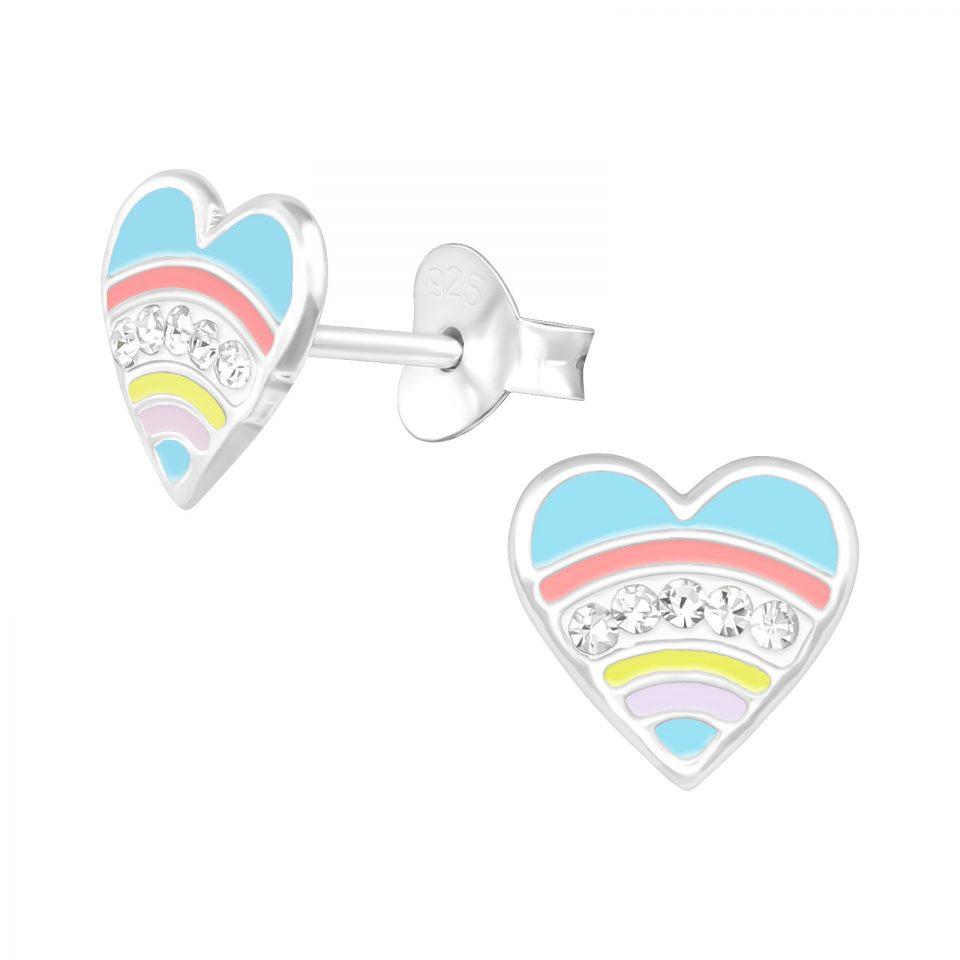 Kindness Crystal Rainbow Heart sterling silver earrings