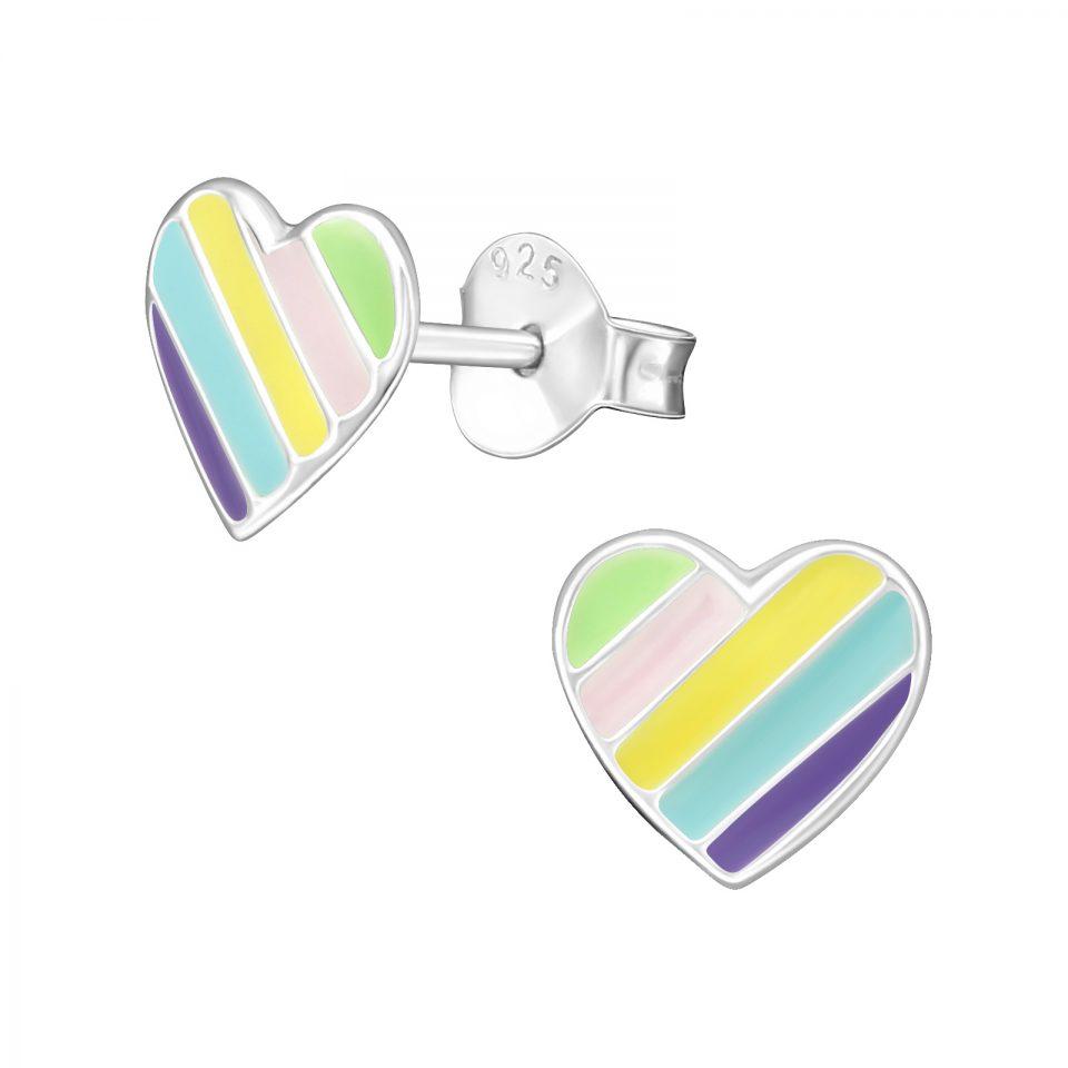 Kindness Pastel Rainbow Heart sterling silver earrings