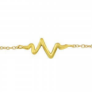 Beating Heart gold plate on sterling silver bracelet