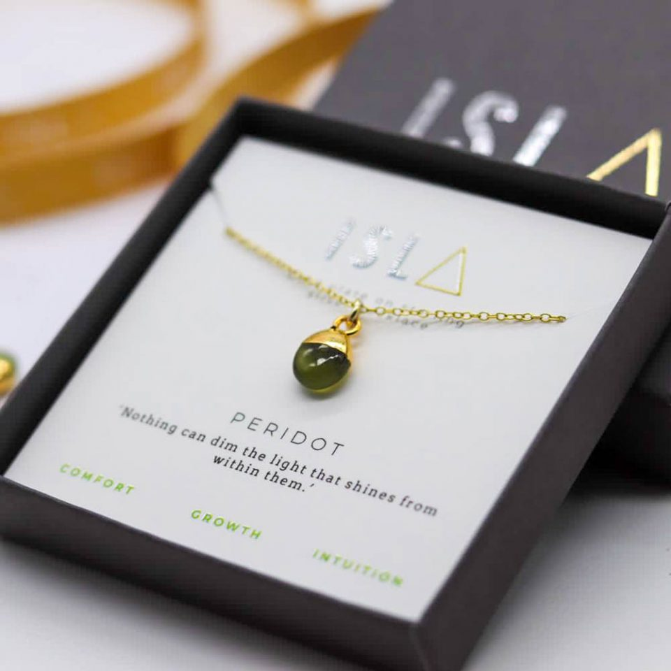 Peridot Gold Plate on Sterling Silver Necklace