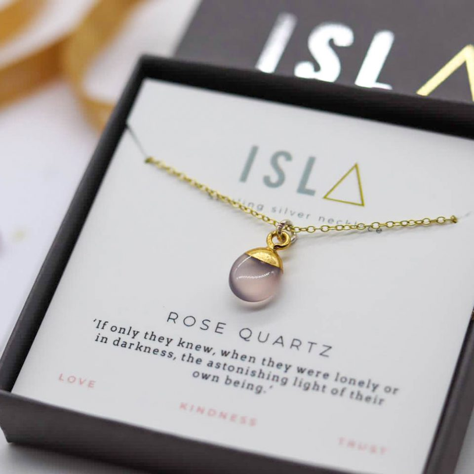 Rose Quartz Gold Plate on Sterling Silver Necklace