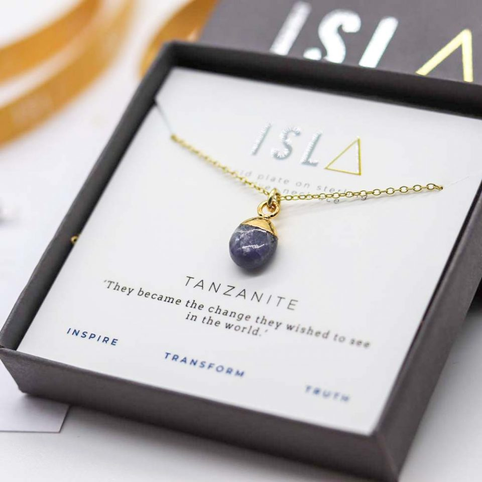 Tanzanite Gold Plate on Sterling Silver Necklace